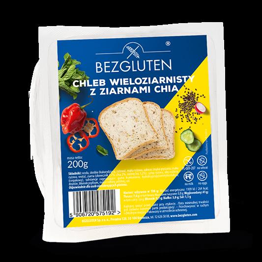 Embalagem de pão com sementes de chia sem glúten